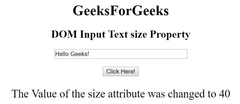 Html Dom Input Text Size Property Geeksforgeeks