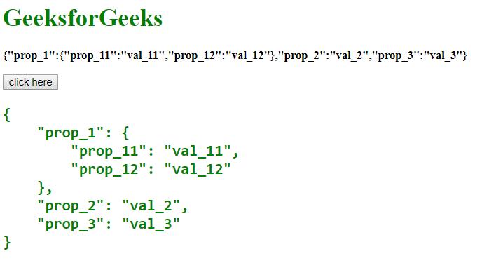 How to pretty print JSON string in JavaScript ? - GeeksforGeeks