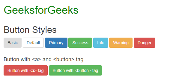 Bootstrap (Part-3) | Buttons, Glyphicons, Tables - GeeksforGeeks