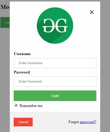 HTML | Responsive Modal Login Form - GeeksforGeeks