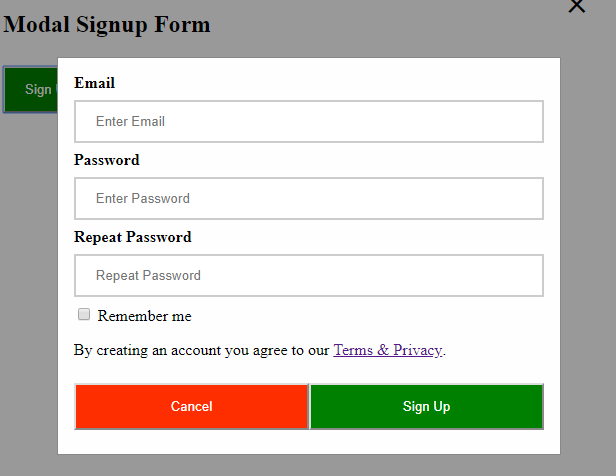 How to create a responsive Modal Sign-Up form for a Website