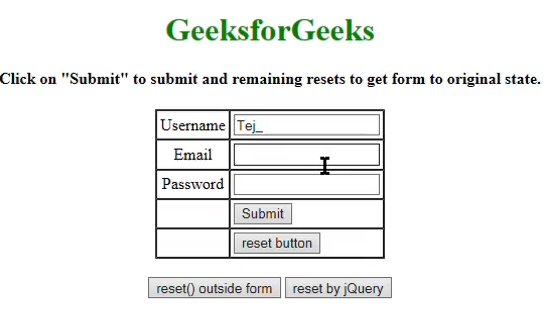 How to reset a form using jQuery with  reset() method
