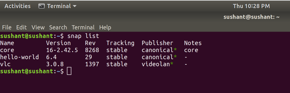 List-of-Installed-applications-snap-package-manager