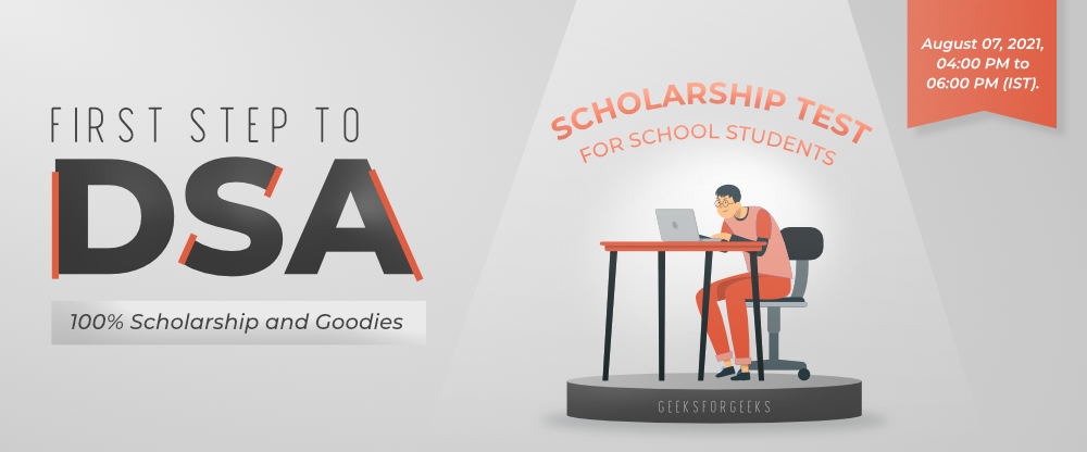 First Step to DSA – Scholarship Test For 9 to 12 Class Students