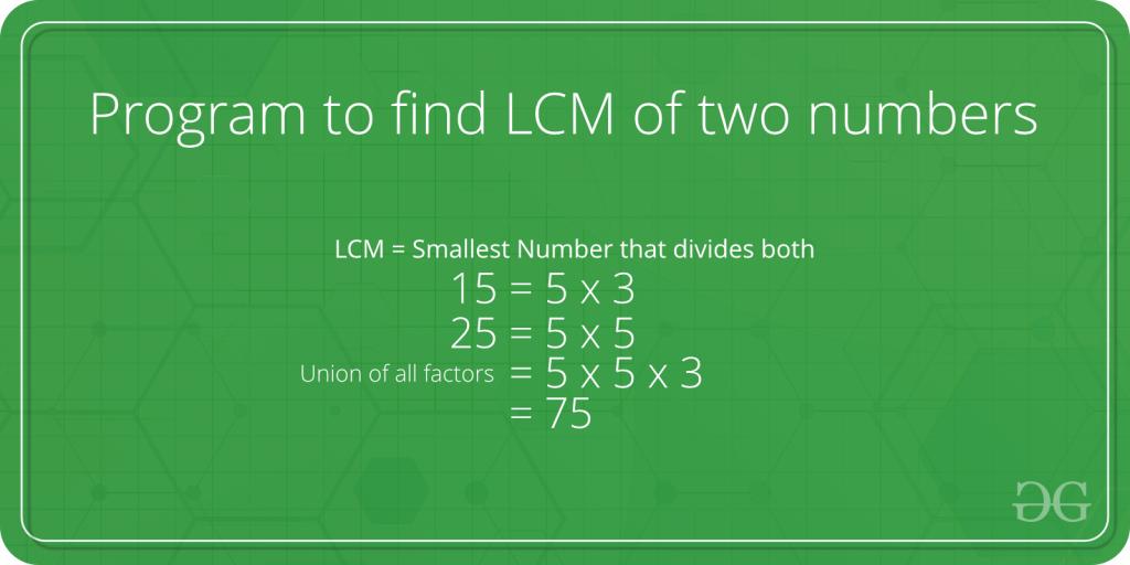 Program to find LCM of two numbers - GeeksforGeeks