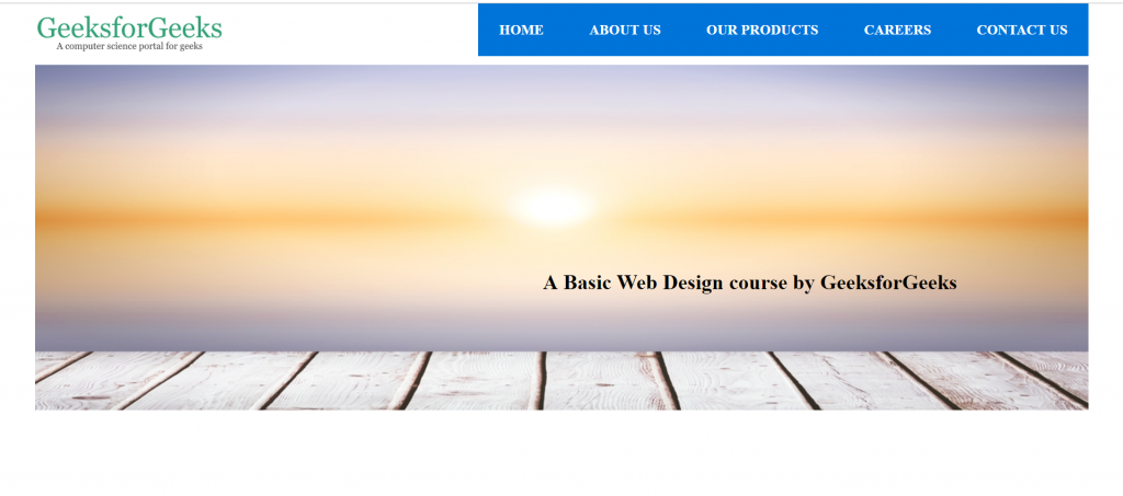 Html Course Building Header Of The Website Geeksforgeeks