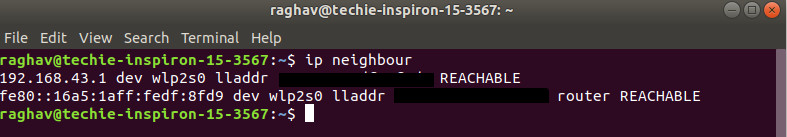 neighbour option for ip command