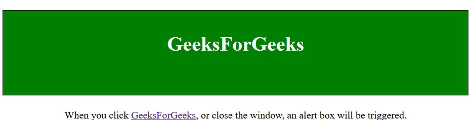 jQuery | unload() Method - GeeksforGeeks
