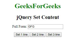 jQuery | Set Content and Attributes - GeeksforGeeks