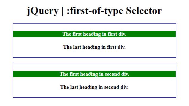 jQuery | :first-of-type Selector - GeeksforGeeks