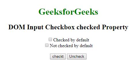HTML | DOM Input Checkbox checked Property - GeeksforGeeks