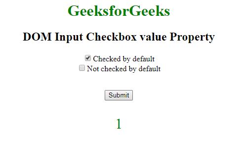 HTML | DOM Input Checkbox value Property - GeeksforGeeks