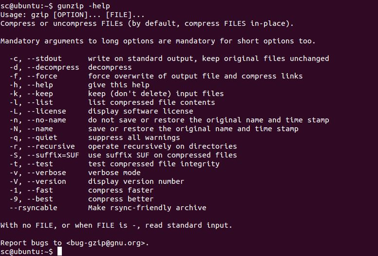 gunzip command in Linux with examples - GeeksforGeeks