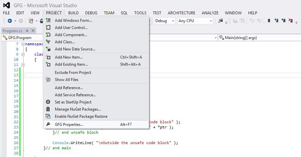 Unsafe Code in C# - GeeksforGeeks