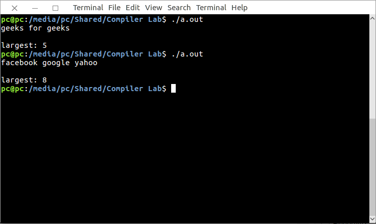 lex program to identify comments