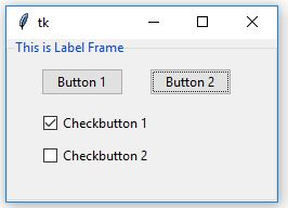 Python Tkinter | Create LabelFrame and add widgets to it