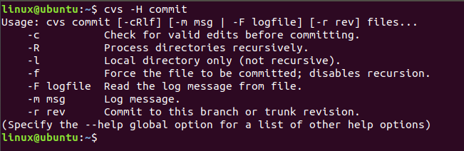 cvs command in linux with examples