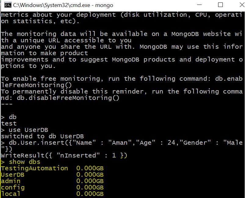 MongoDB | Create Database using MongoShell - GeeksforGeeks
