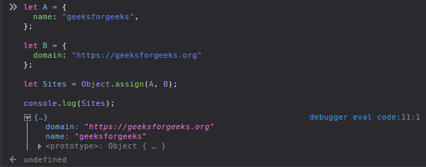 How to merge properties of two JavaScript objects dynamically? -  GeeksforGeeks