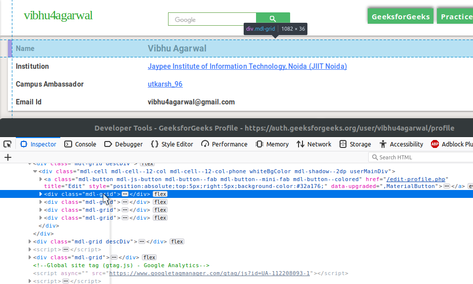 Setup API for GeeksforGeeks user data using WebScraping and