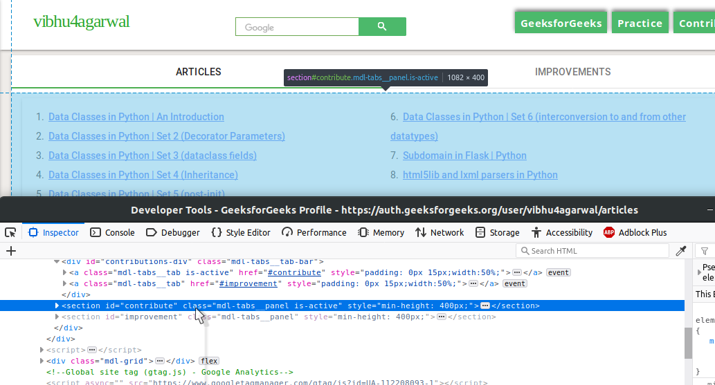 Setup API for GeeksforGeeks user data using WebScraping and Flask
