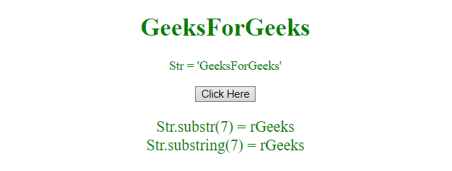 Difference between substr() and substring() in JavaScript