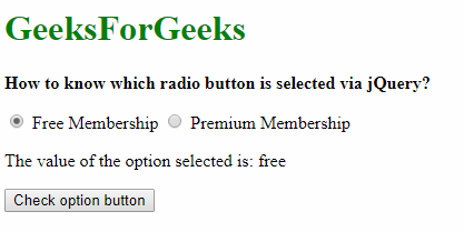 How to know which radio button is selected using jQuery
