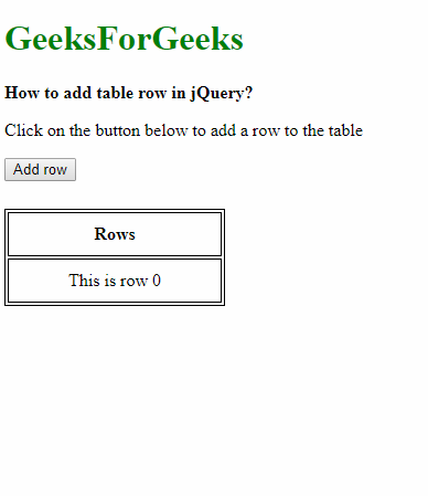 How to add table row in a table using jQuery? - GeeksforGeeks