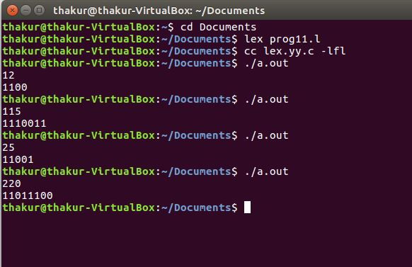 Lex program for Decimal to Binary Conversion - GeeksforGeeks