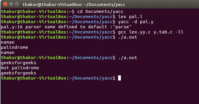 Yacc Program To Check Whether Given String Is Palindrome Or Not Geeksforgeeks