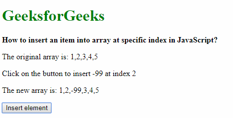 How to insert an item into array at specific index in