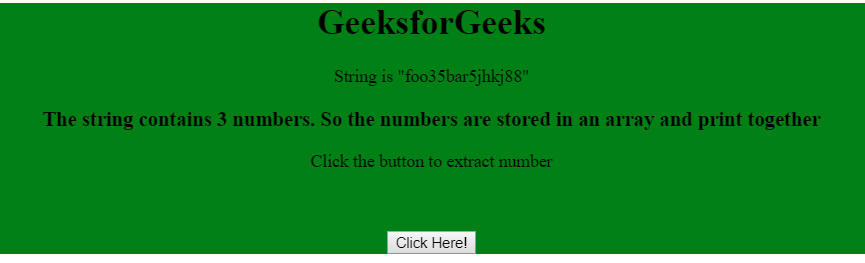 Extract a number from a string using JavaScript - GeeksforGeeks