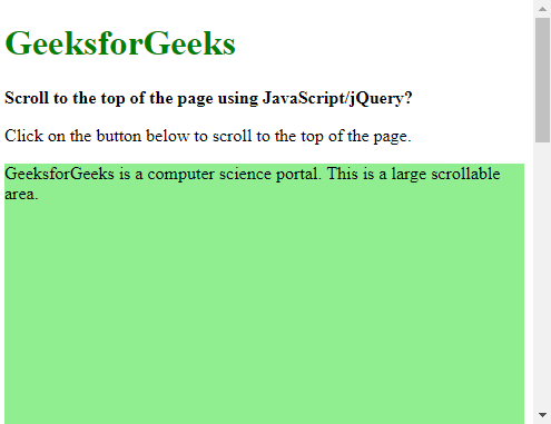 Scroll to the top of the page using JavaScript/jQuery
