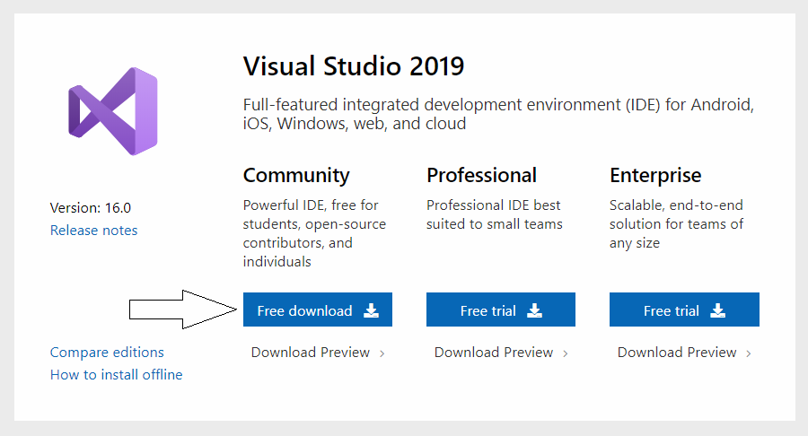 download-visual-studio-community-version