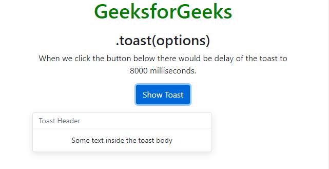 Bootstrap 4 | Toast - GeeksforGeeks
