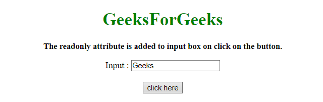 How to use input readonly attribute in jQuery ? - GeeksforGeeks