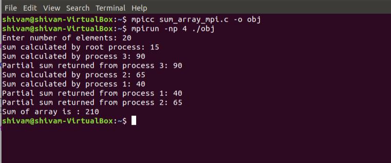 Sum of an array using MPI - GeeksforGeeks