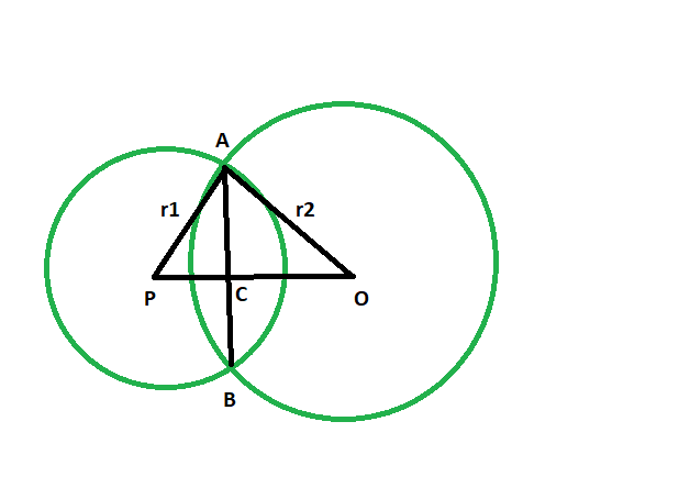 Distance between centers of two intersecting circles if the radii and common  chord length is given - GeeksforGeeks
