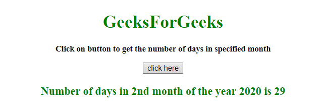 How to get the number of days in a specified month using