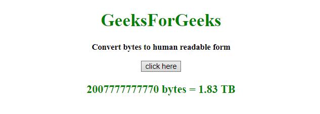 JavaScript | Convert bytes to human-readable string