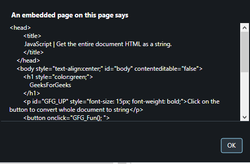 How to get the entire HTML document as a string in