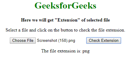 How to get file extensions using JavaScript? - GeeksforGeeks