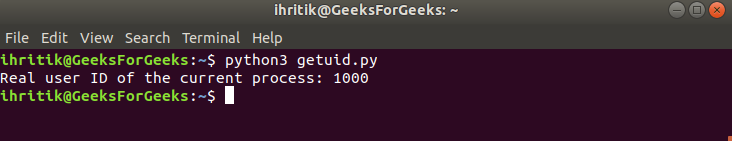 Getuid Method output