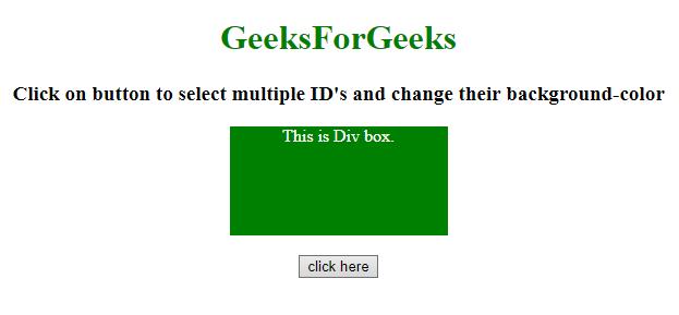 JQuery   Multiple ID selectors - GeeksforGeeks