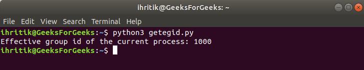 Output getegid method