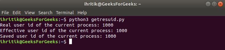 os.getresuid() method output