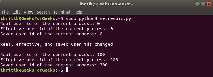 os.setresuid() method output