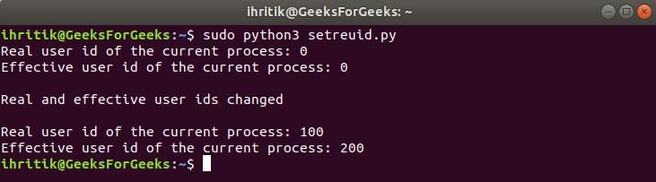 os.setreuid() method output