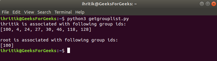 os.getgrouplist() method output