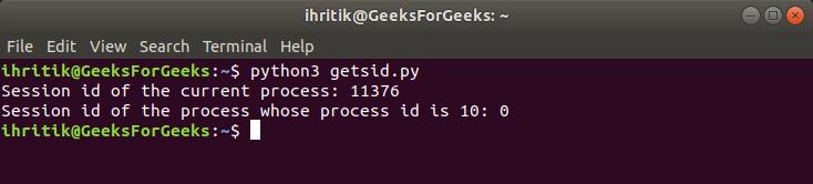 os.getsid() method output